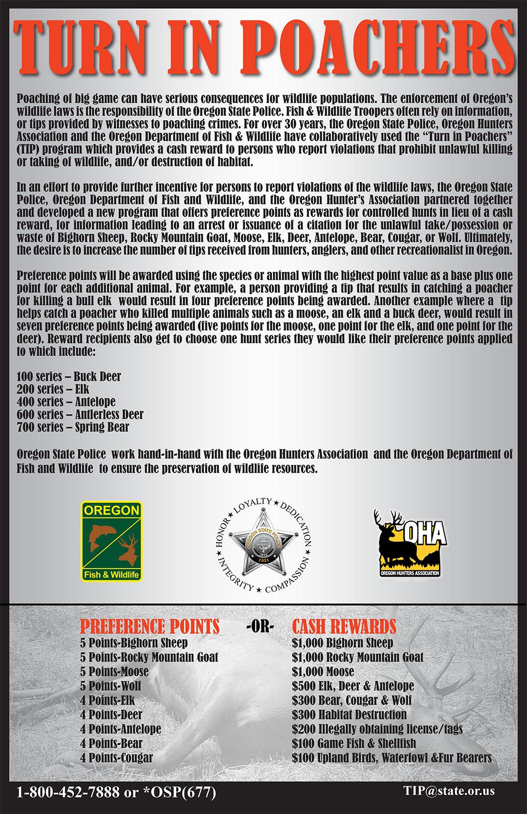 Turn in Poachers (TIP) - Oregon Hunters Association: OHA